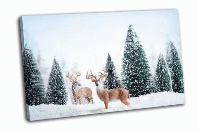 Картина зимний пейзаж с оленями