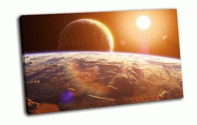 Картина звезда, планеты, спутники
