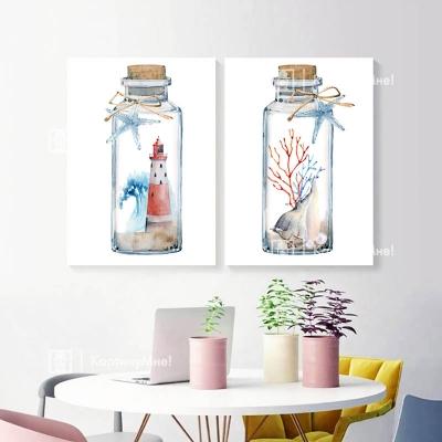 """Картина в акварельном стиле """"Два маяка"""""""