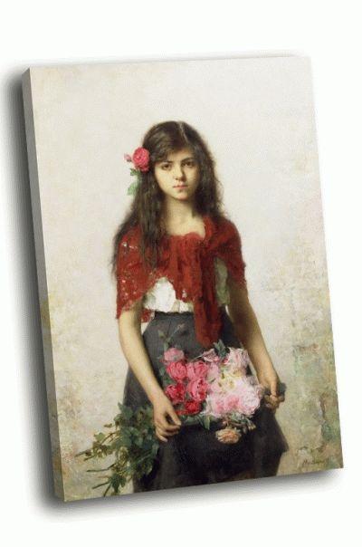 Репродукция картины а. а.харламов - молодая девушка с цветами