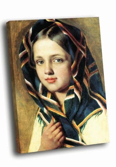 Репродукция картины а.г. венецианова - «девушка в платке»