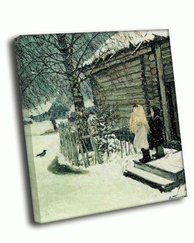 Репродукция картины а. пластов - первый снег