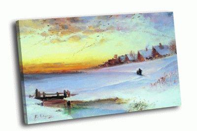Репродукция картины а. саврасов - зимний пейзаж (оттепель)