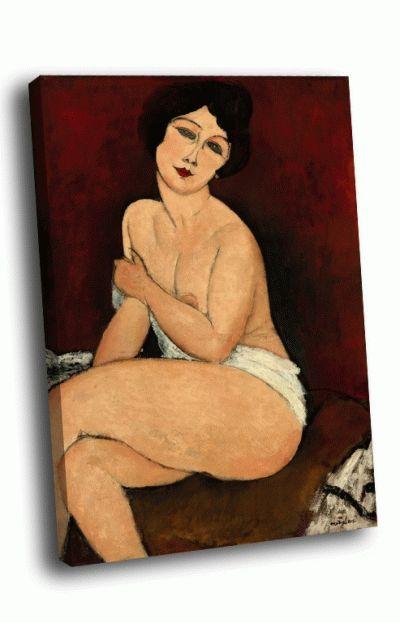 Репродукция картины амедео модильяни - обнажённая, сидящая на диване
