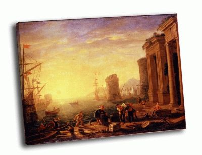 Репродукция картины желле, клод (лоррена) - утро в гавани