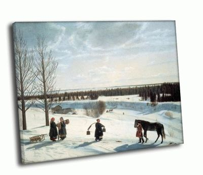 Репродукция картины никифор степанович крылов - зимний пейзаж (русская зима)