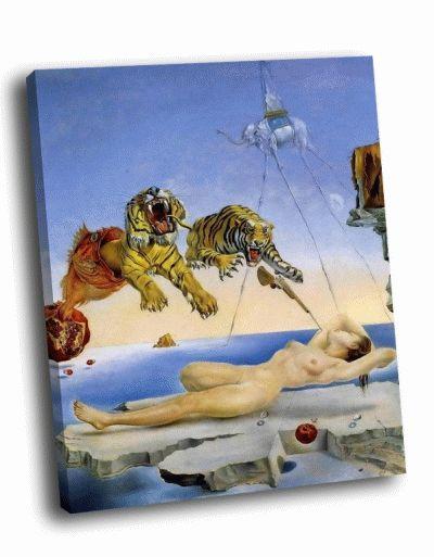 Репродукция картины сальвадор дали - сон, вызванный полётом пчелы вокруг граната, за секунду до пробуждения