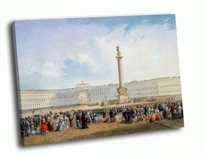 Репродукция картины в. с. садовников - вид дворцовой площади и здания главного штаба в санкт-петербурге
