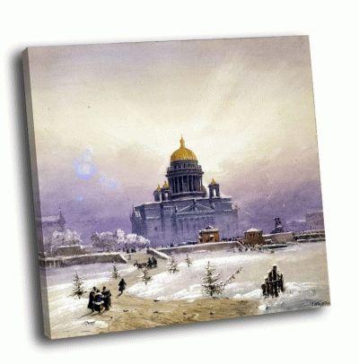 Репродукция картины вайс, иоганн баптист - зимний пейзаж с исаакиевским собором