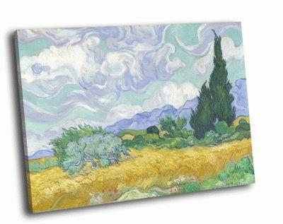 Репродукция картины ван гог - пшеничное поле с кипарисами