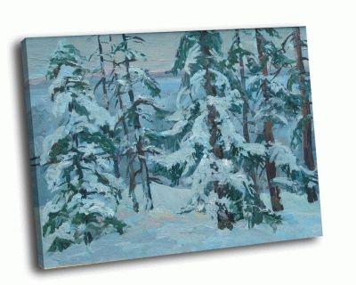 Репродукция картины зимний лес (масло)