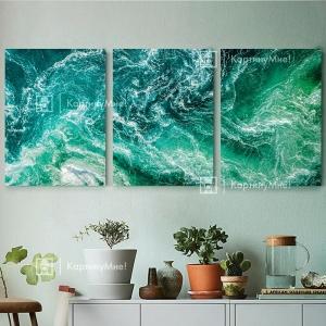 """Модульная картина """"Изумрудный океан"""""""