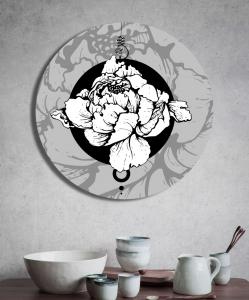 """Круглая картина """"Белый цветок"""""""