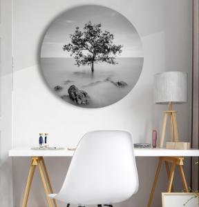 """Круглая картина """"Одинокое дерево"""""""