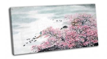 Китайский пейзаж-цветение дерева и рыбак