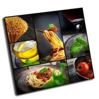 Коллаж-паста с томатным соусом и оливками
