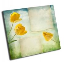Красивый  фон с желтыми тюльпанами