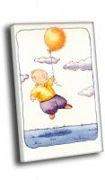 Мальчик летит за шаром