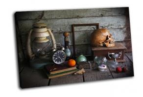 Натюрморт с черепом человека и будилник