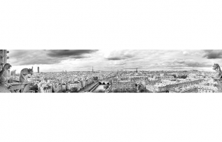 Париж-панорамный черно-белый вид