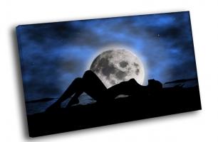 Силуэт девушкин фоне луны