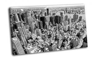 Вид  с воздуха на Манхэттен в Нью-Йорке