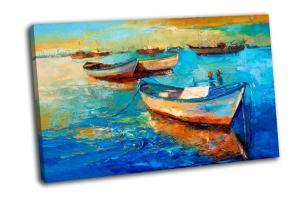 Закат над океаном с лодками