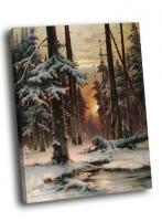 Юлий КЛЕВЕР - Зимний закат в еловом лесу